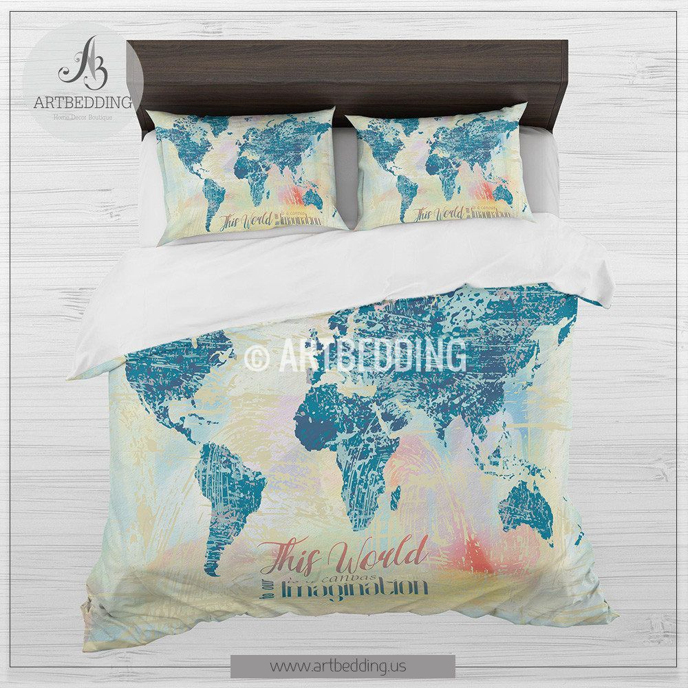 Boho World Map Bedding Watercolor Quote Duvet Cover Set Modern