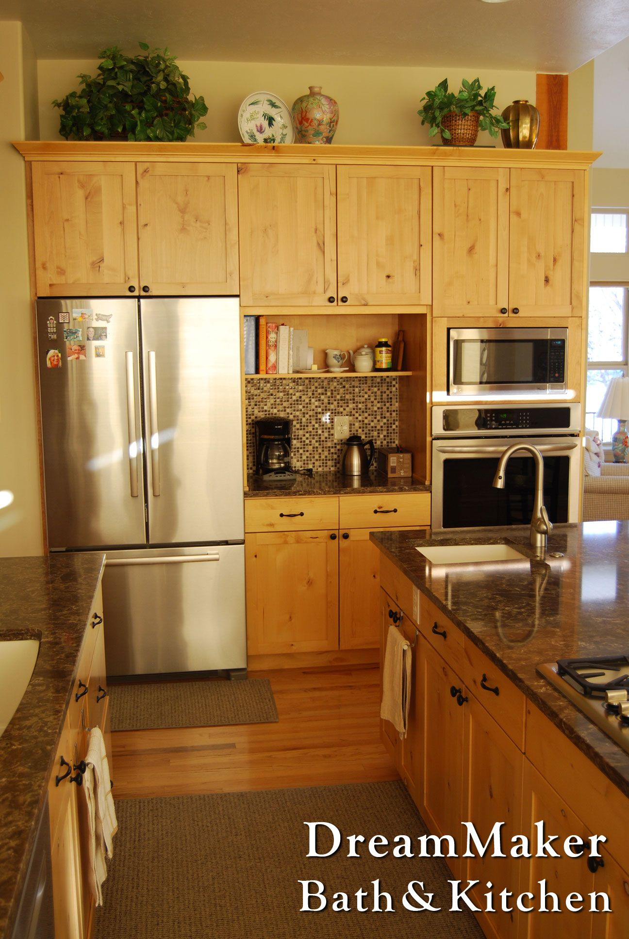 Natural Knotty Alder Cabinetry Paired With Quartz Countertops Gorgeous Bathroom Kitchen Remodeling Design Ideas