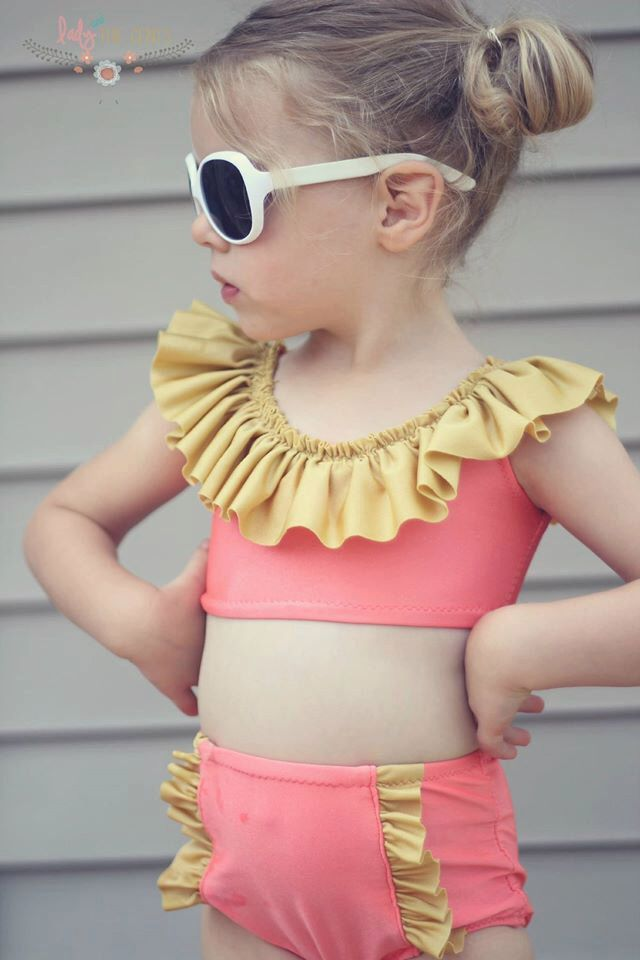 c57be9962bf32 PDF sewing pattern Girls High waisted swimsuit bikini top and bottom (all  sizes 3m-8yrs)