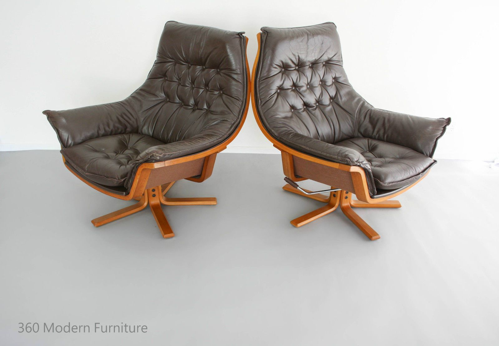 MID Century Armchairs X2 Danish Deluxe Leather Swivel Rocker Recliner Bentwood Retro Vintage Lounge Chair pair : century recliners - islam-shia.org