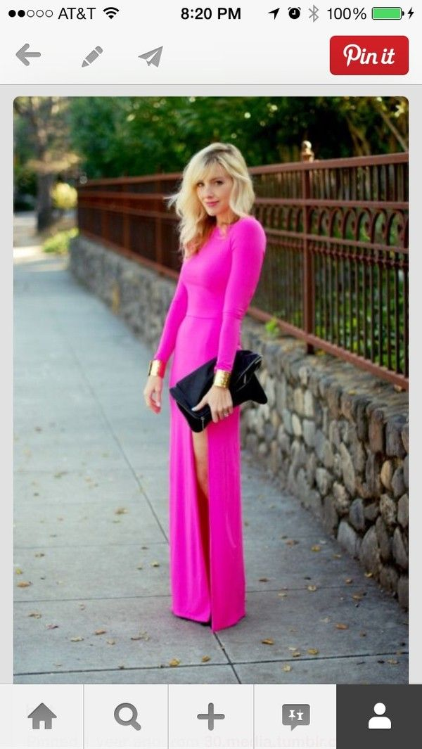 57% off Liquid Dresses Skirts - Hot Pink Front Slit Long Sleeve ...