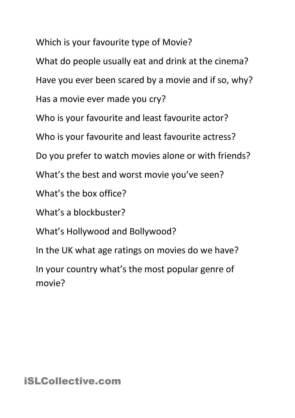 Movies And Tv Speaking Discussion Questions This Or That Questions Movies Discussion Questions
