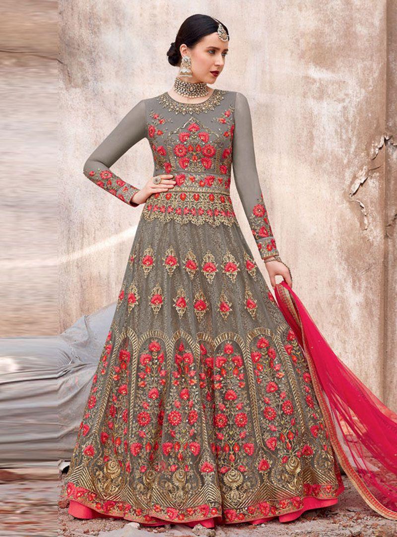 c02910b78a Buy Gray Net Floor Length Anarkali Suit 147686 online at lowest price from  huge collection of salwar kameez at Indianclothstore.com.
