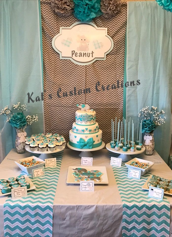 Dessert Table At Teal Elephant Baby Shower Elephant Baby Shower Theme Baby Shower Backdrop Elephant Baby Showers
