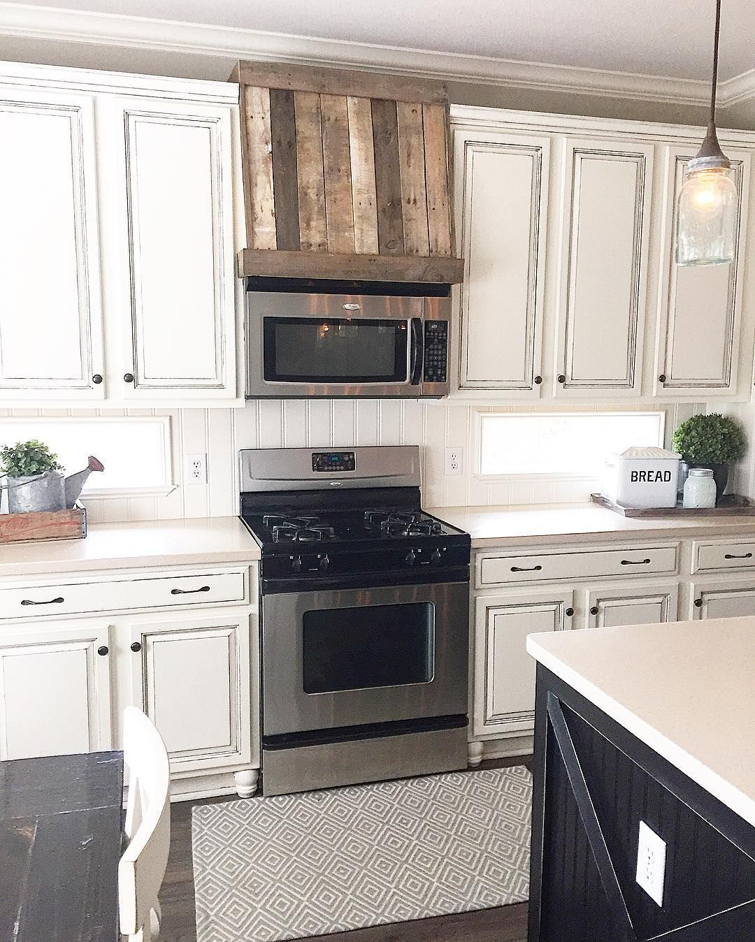 Faux Oven Hood Ourfauxfarmhouse Made From Pallet Wood Farmhouse Kitchen Antiqued Cabinets