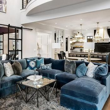 Blue Velvet Sectional With Blue Chaise Lounge Blue Living Room