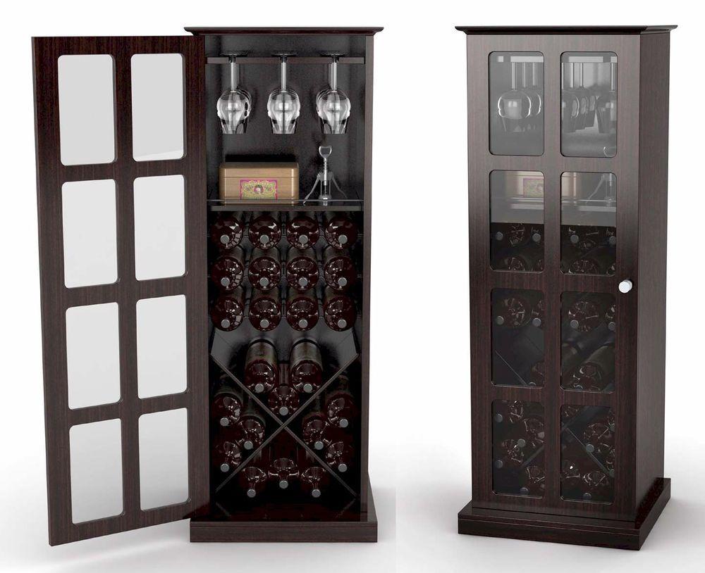 Bottle wine storage rack cabinet glass door espresso new rta kitchen