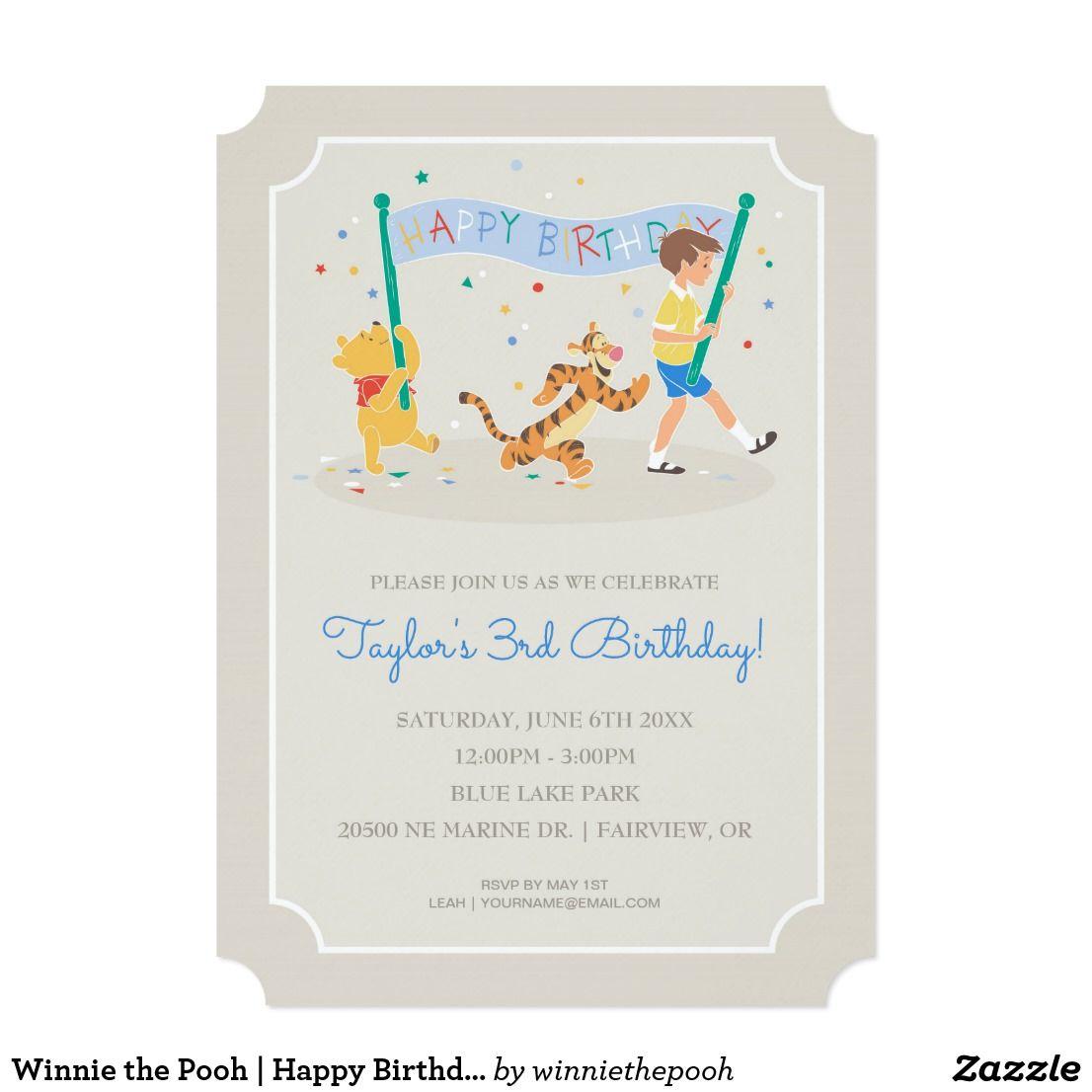 Winnie the Pooh | Happy Birthday Card | Disney birthday and Birthdays