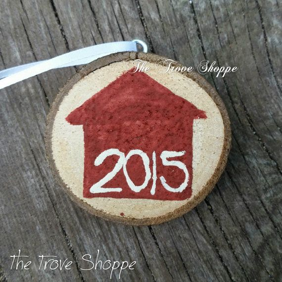 New Home 2015 Ornament  Hand Painted Wood Slice by TheTroveShoppe