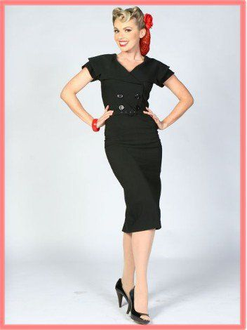 Bettie Page Clothing-Vintage Style Pencil Dress- 1950s Pinup Dresses-50s 1950s-Retro Clothing