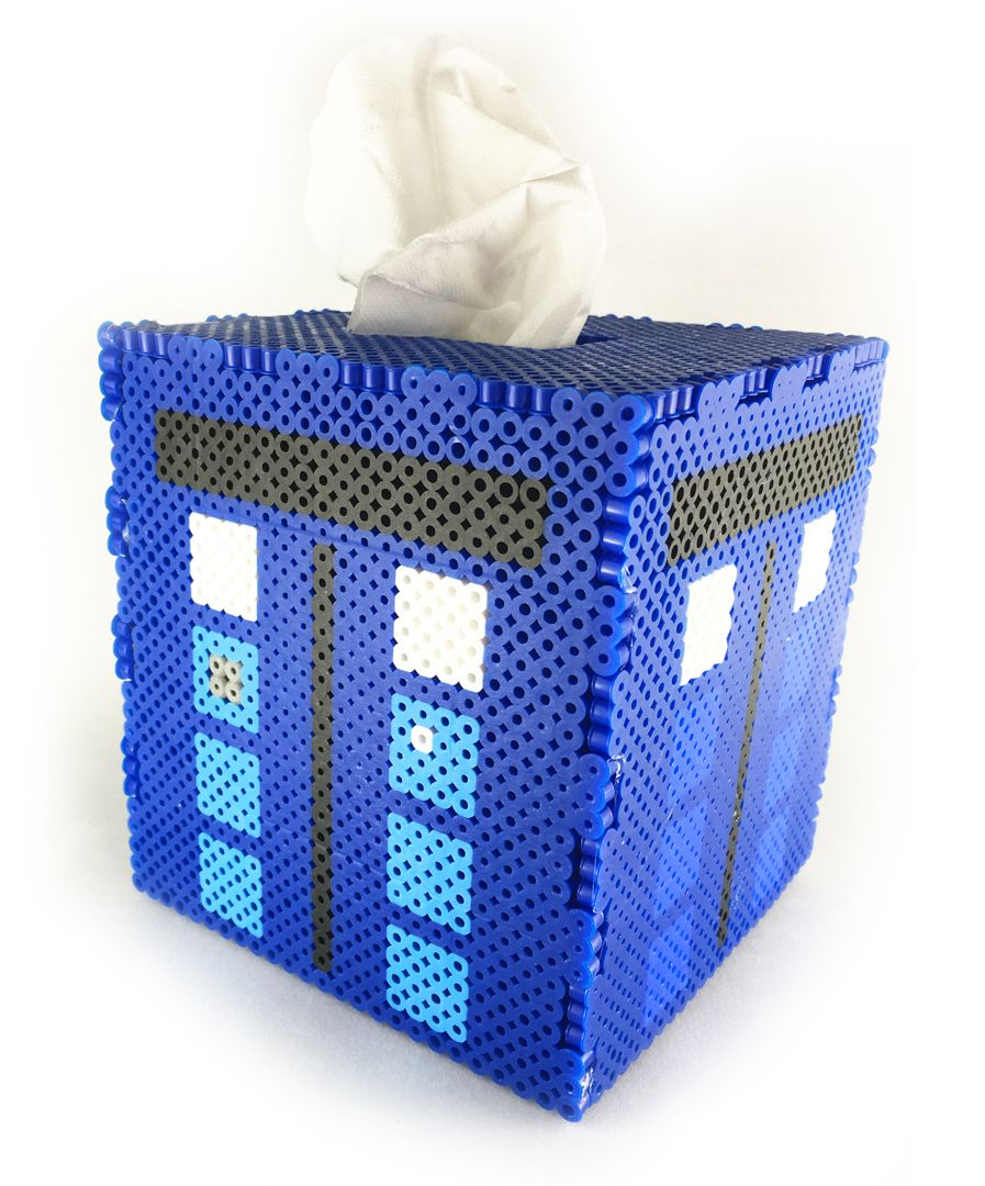 tardis perler bead tissue box pattern diy craft [ 897 x 1080 Pixel ]