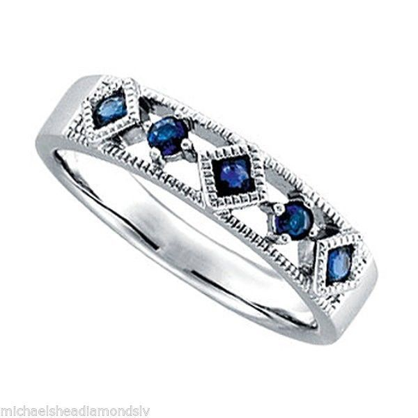 GENUINE BLUE SAPPHIRE 5 STONE WEDDING/ANNIVERSAY BAND IN SOLID 14K WHITE GOLD