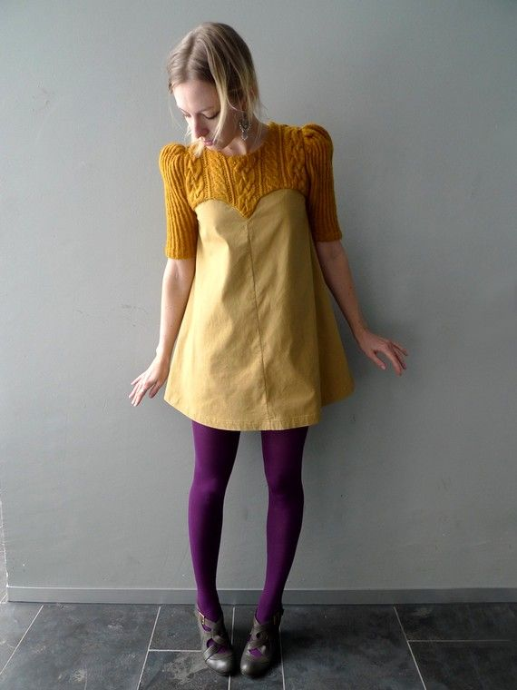 sweater dress idea with denim
