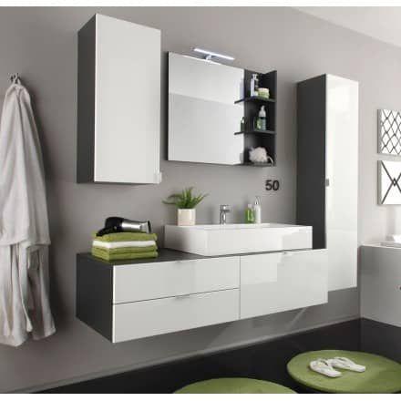 Badezimmer Badmöbel Set Beach weiß Hochglanz grau optional mit - badezimmer weiß grau