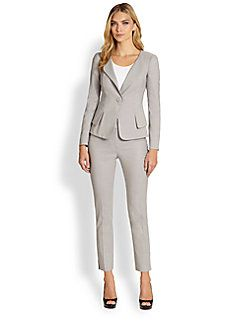 16ba3e1e970 Love this suit from the Armani Collezioni. Available at Saks Fifth Avenue.  Perfect for Spring Summer in neutral color.  suits  womens  armanicollezioni
