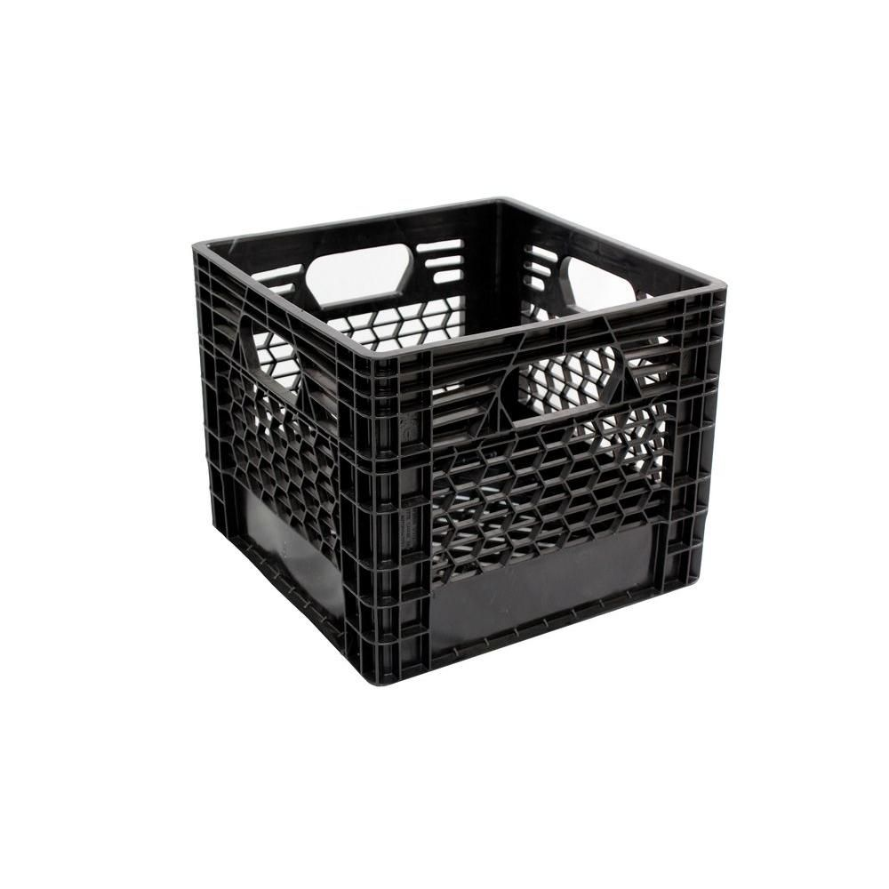 Gsc Technologies 11 In X 13 In X 13 In Black Milk Crate Mc131311 002 The Home Depot Milk Crates Crates Plastic Milk Crates
