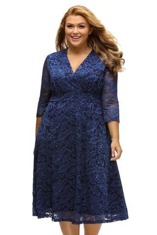 d71a01f9c45 Navy Blue Plus Size Surplice Lace Formal Dress LAVELIQ