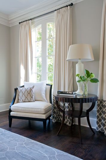 cream curtains with panel at bottom