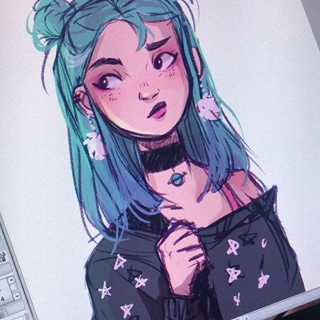 Quick Warmup Doodle Of Procrastiartist S Oc Space Girl Girl
