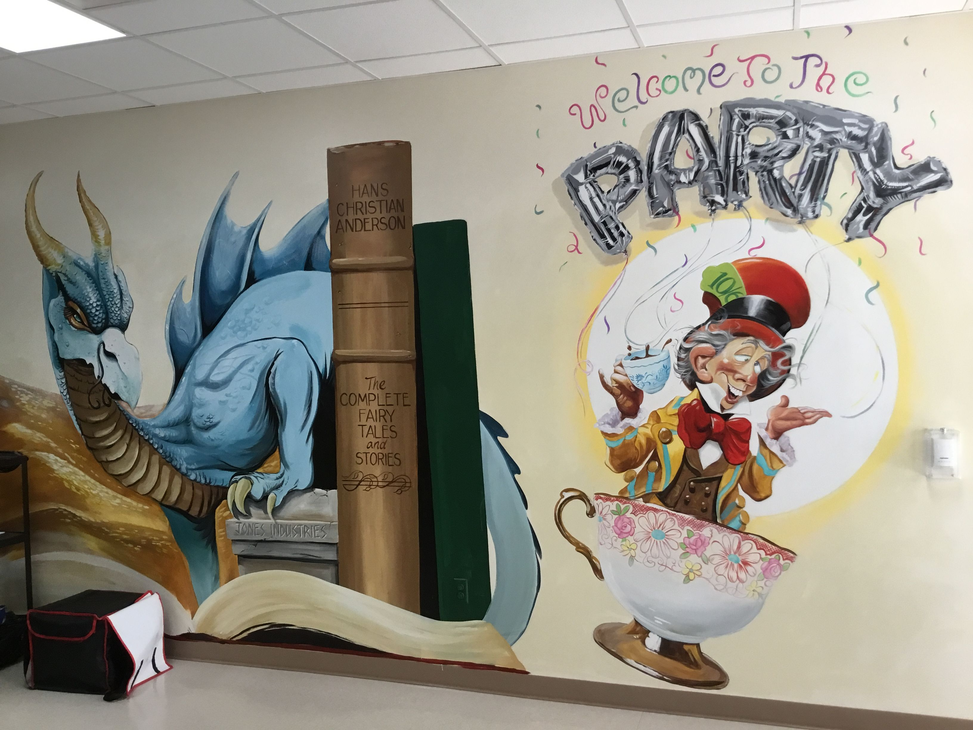 Book Themed School Mural To Promote Reading And Imagination
