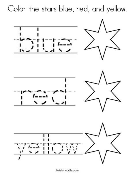 Color The Stars Blue Red And Yellow Coloring Page Twisty