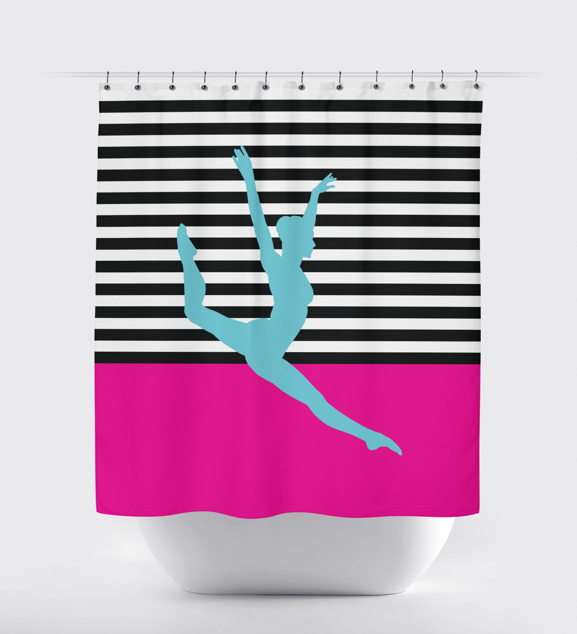 pink and white striped shower curtain. Striped Color Block Dance Shower Curtain  Hot Pink Aqua Black and White Choose ANY Colors