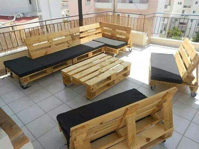 Muebles patio en paletas de carga   mariposas redondas   Pinterest ...