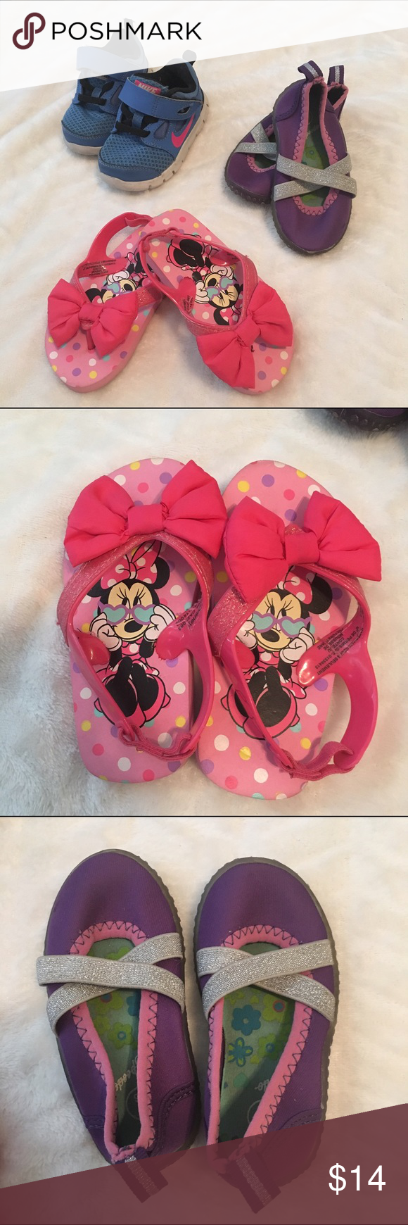 Bundle of girls shoes sz 5 Bundle of USED girls shoes..purple water shoes & Minnie Mouse sandals r sz 5/6...all in used condition but still in good shape! Shoes