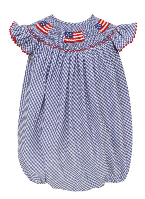 b24fb3b3a91c3 Anavini Velani Baby Girls Royal Blue Gingham Smocked Patriotic Flags Bubble