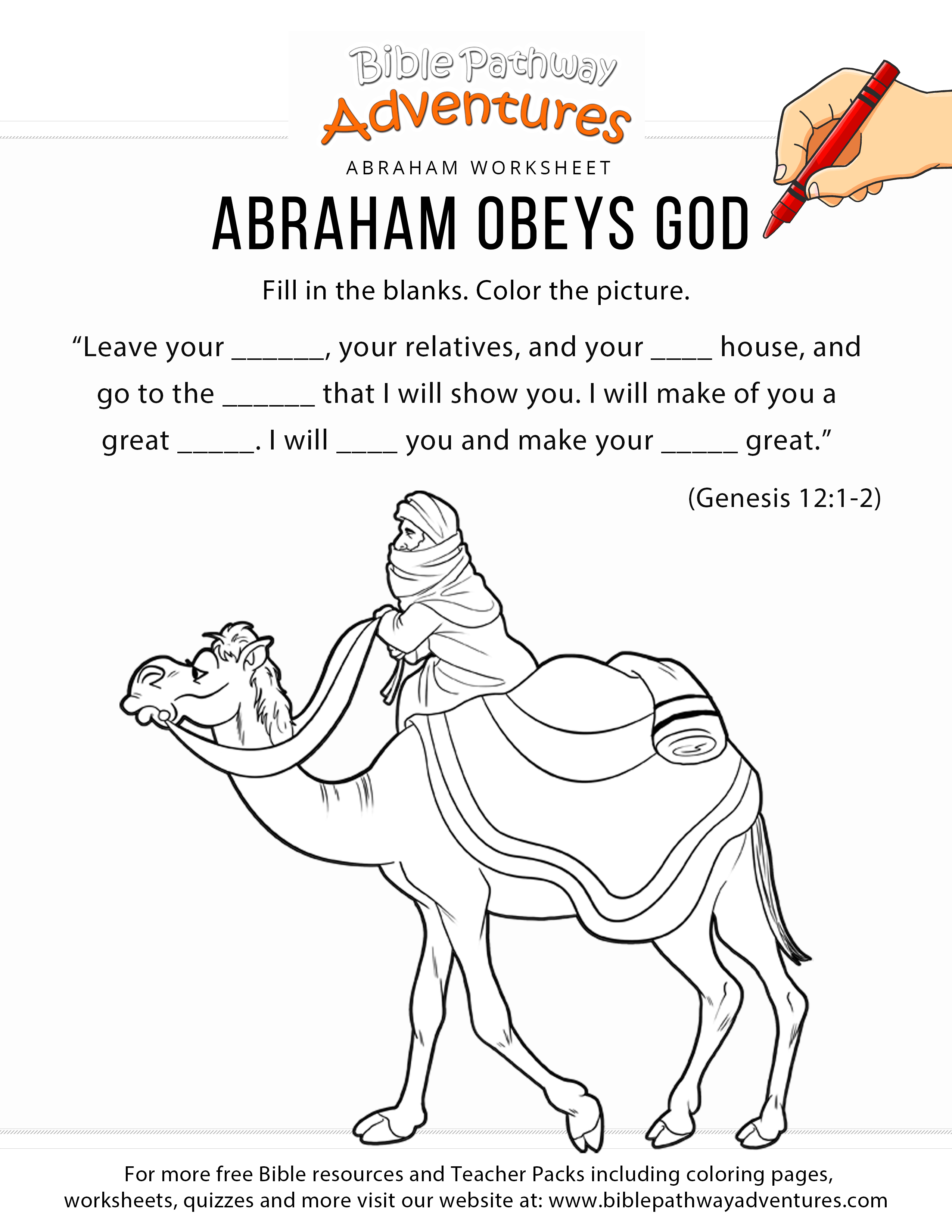 Abraham Obeys God Worksheet Amp Coloring Page