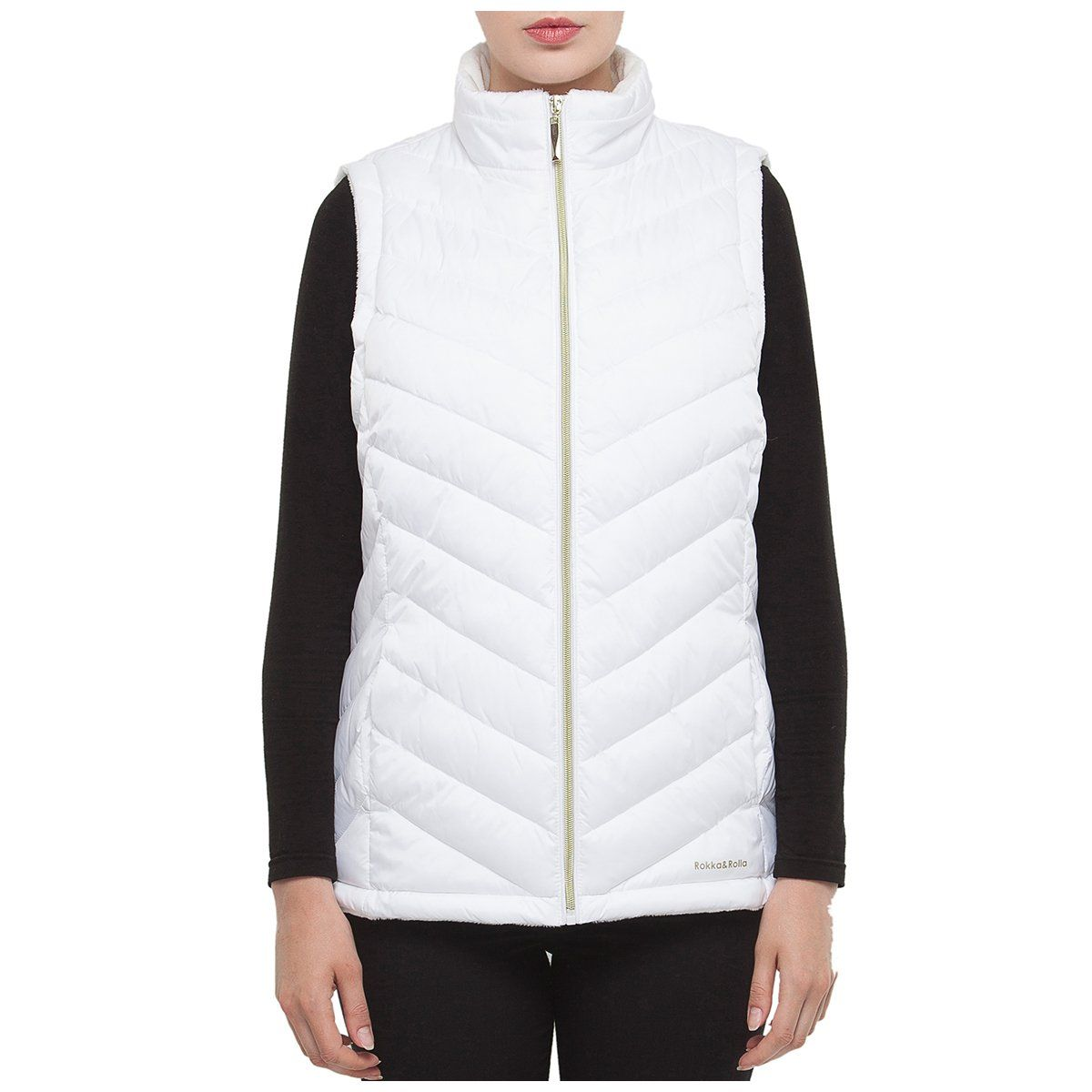 Women's Quilted Faux Fur Puffer Vest - M / White