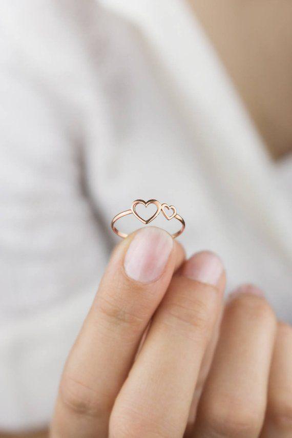 Anillo doble de corazón, anillo de corazón de oro rosa, anillo de oro de 14 quilates, oro rosa, anillo de marco con dos corazones, …