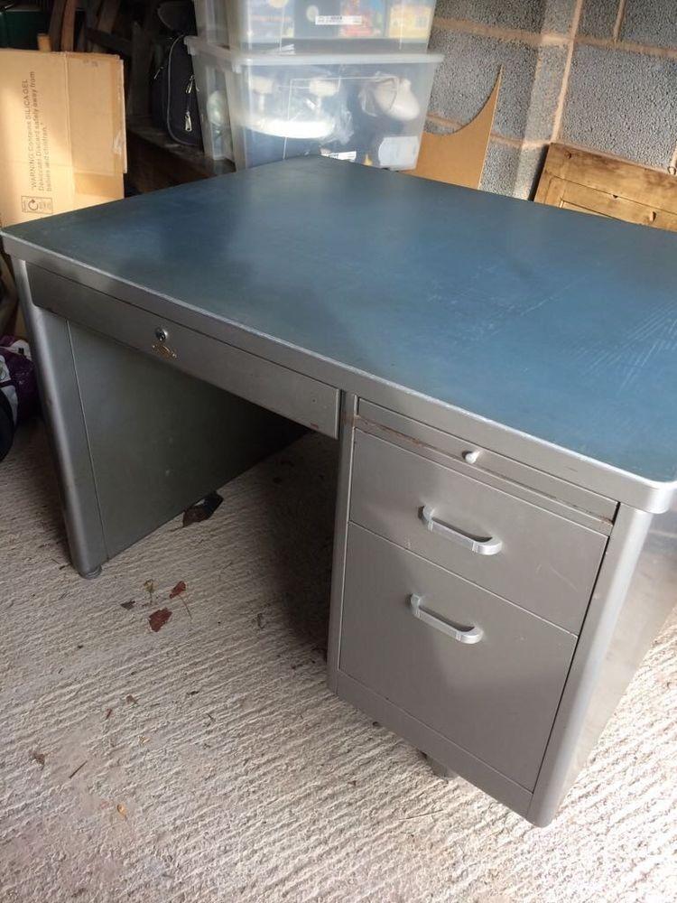 Silver Vintage Industrial Art Metal Desk Ebay Metal Desks Desk Industrial Style Desk