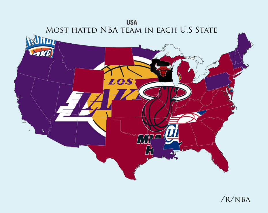 This is a map of which NBA team is the most hated in each state ...