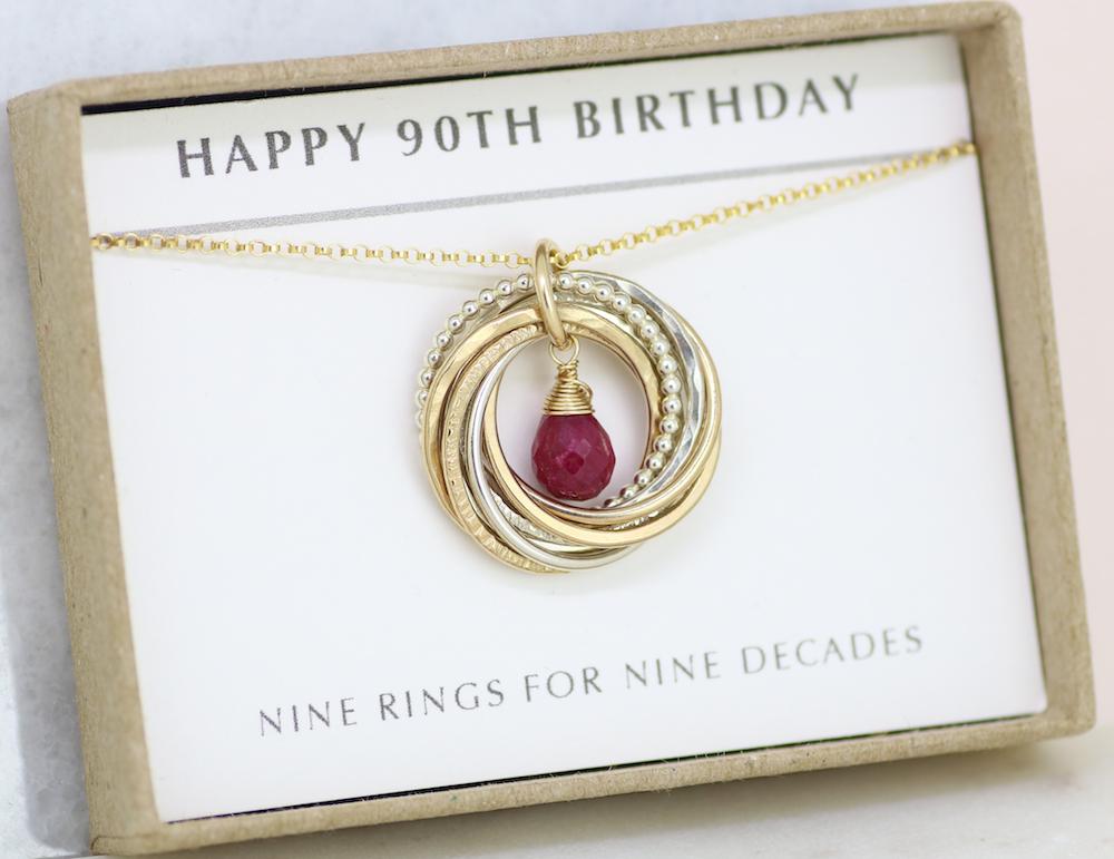 90th Birthday Gift Idea July Grandma Ruby Necklace For Grandmom