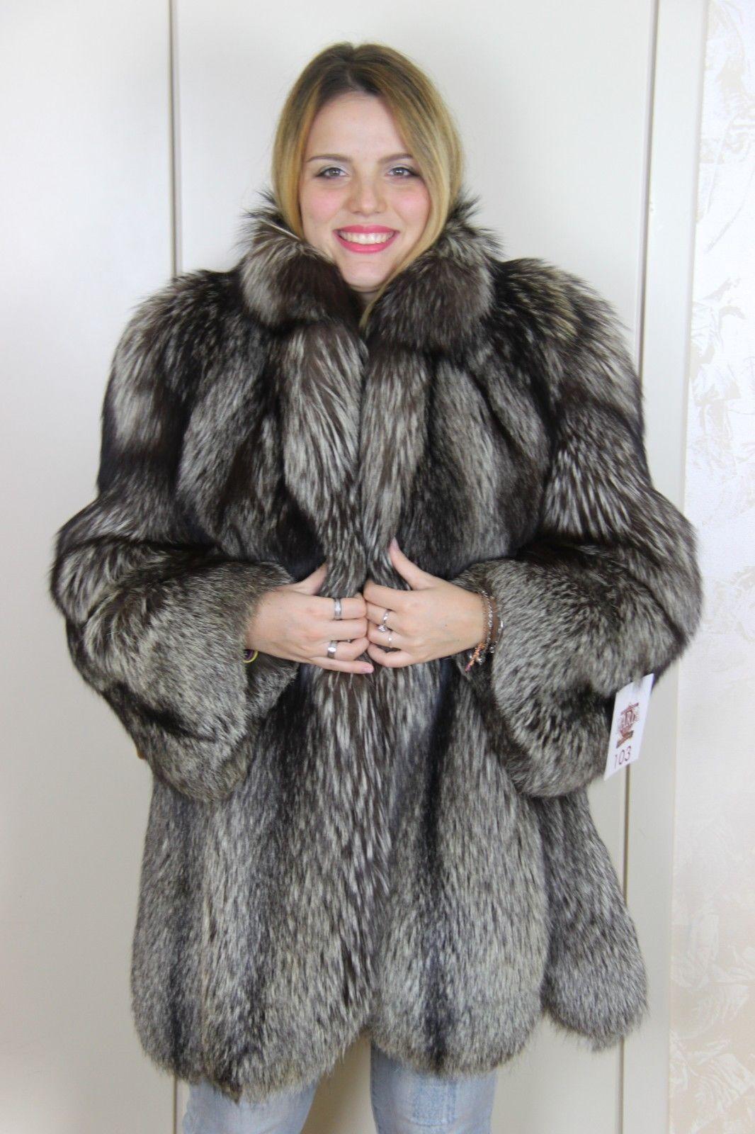 half off bc5cd d963f Details about Mink Coat Hooded Fox Pelliccia Visone Fuchs ...