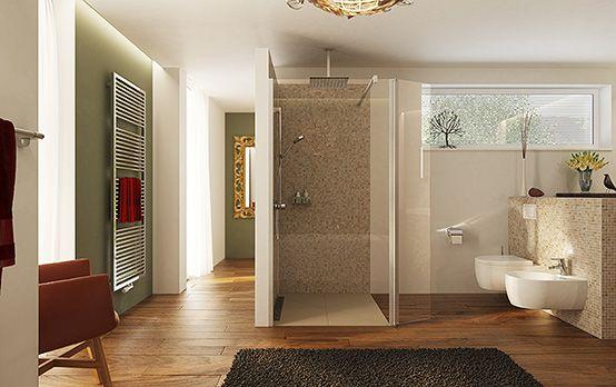 Dusche mit Kopfbrause, WC, Bidet und Heizkörper