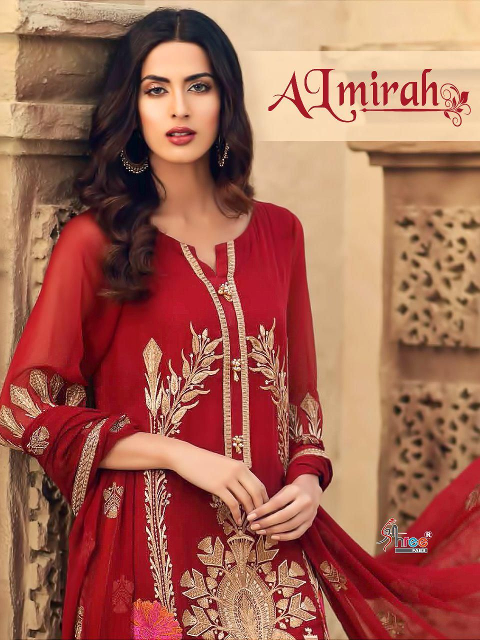 bf98bc3d0c Shree Fab Almirah Pure Cotton With Embroidery Suit (6 Pc Set ...