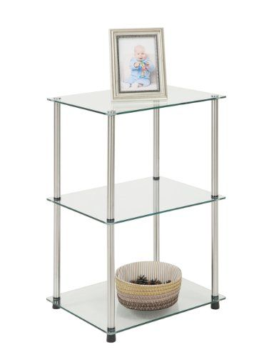 Convenience Concepts Designs2go Go Accsense 3 Tier Glass Square End Lamp Table Clear Glass In 2020 Furniture End Tables Glass End Tables