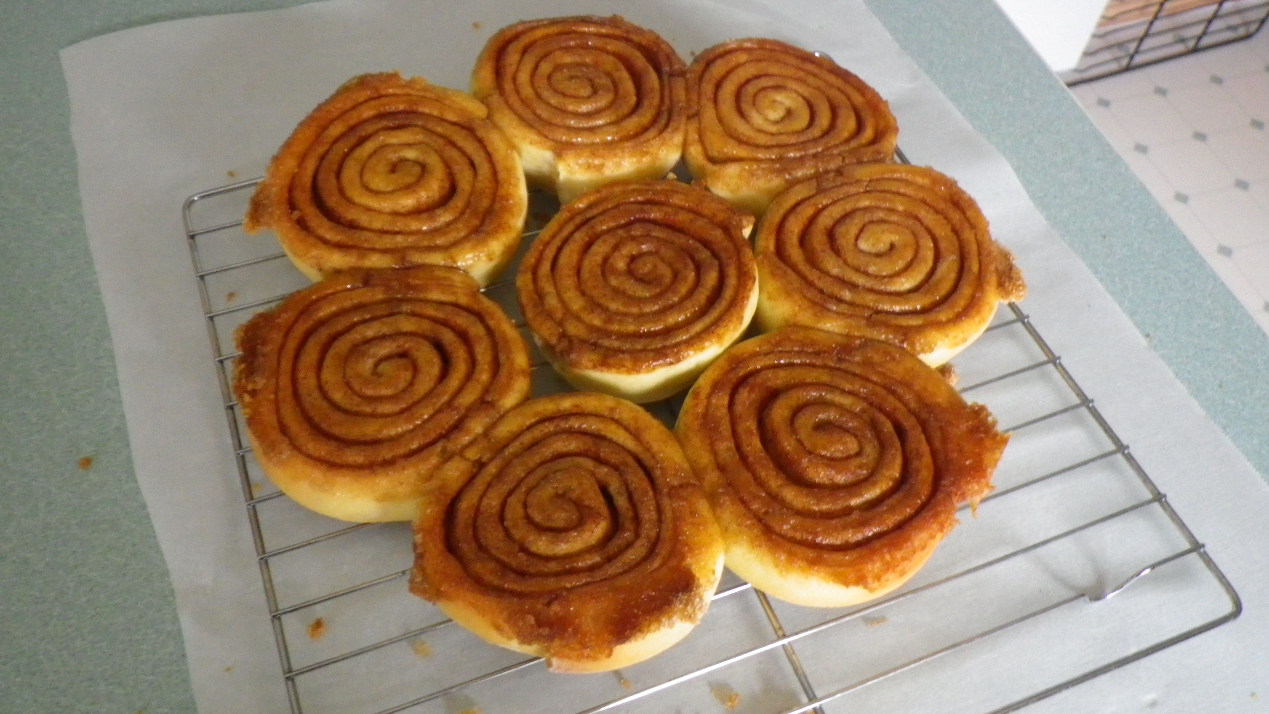 Fresh cinnamon bus straight from the oven