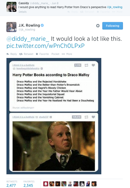 Good ol' JK! Harry Potter titles from Draco's perspective