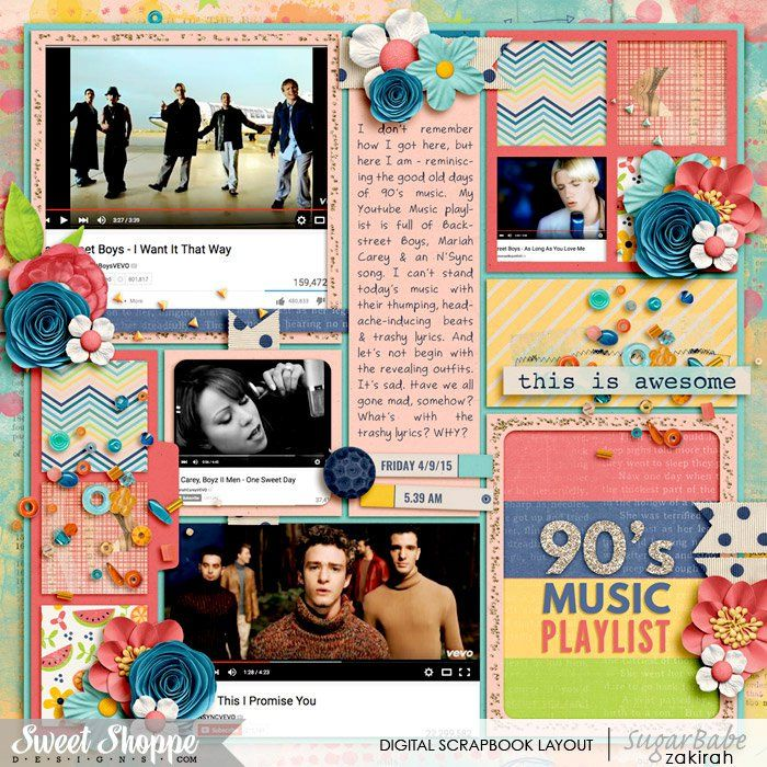 My 90's Music Playlist  By: Zakirah | 04-Sep-15    I Heart Fresh Starts kit by Blagovesta, Vera, Amanda, Willemijne, Simone & Rachel,   Cindy's Layered Templates - Single 103: Lots of Snapshots 59 by Cindy Schneider,     All are digital products available at SweetShoppeDesigns.com     Font is ZakirahsCasual, available at Dafont.
