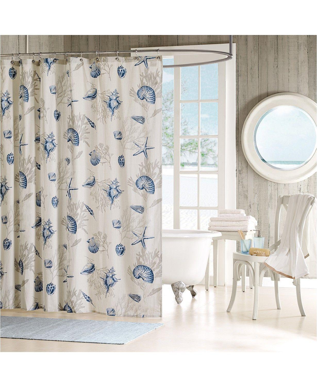 Madison Park Bayside Cotton 72 X 72 Seashell Print Shower
