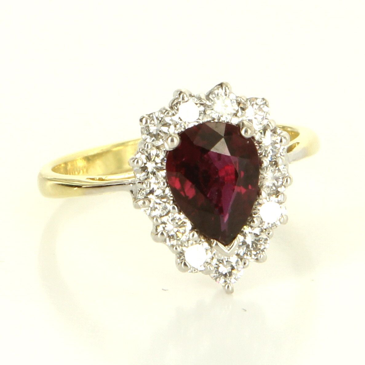 Natural ruby u diamond ring