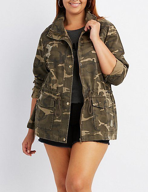 223f56d5577 Plus Size Destroyed Camo Anorak Jacket