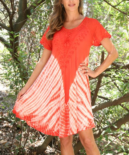 Take a look at the Ananda's Collection Red & Coral Lace-Up Tie-Dye Swing Dress on #zulily today!