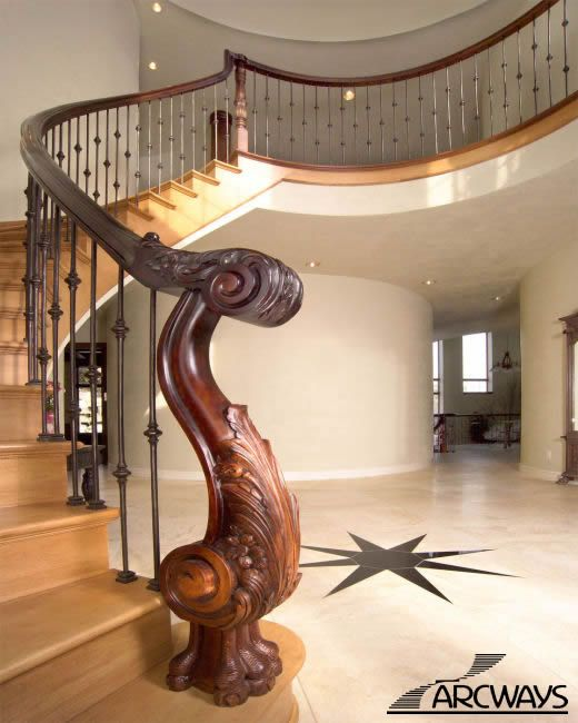 Best Custom Carved Wood Newel Terminus Staircase Design 400 x 300