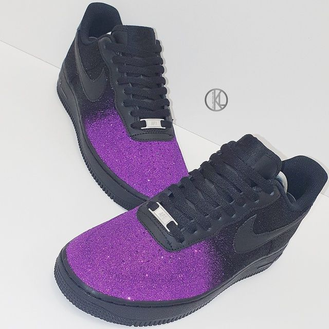purple glitter nike shoes