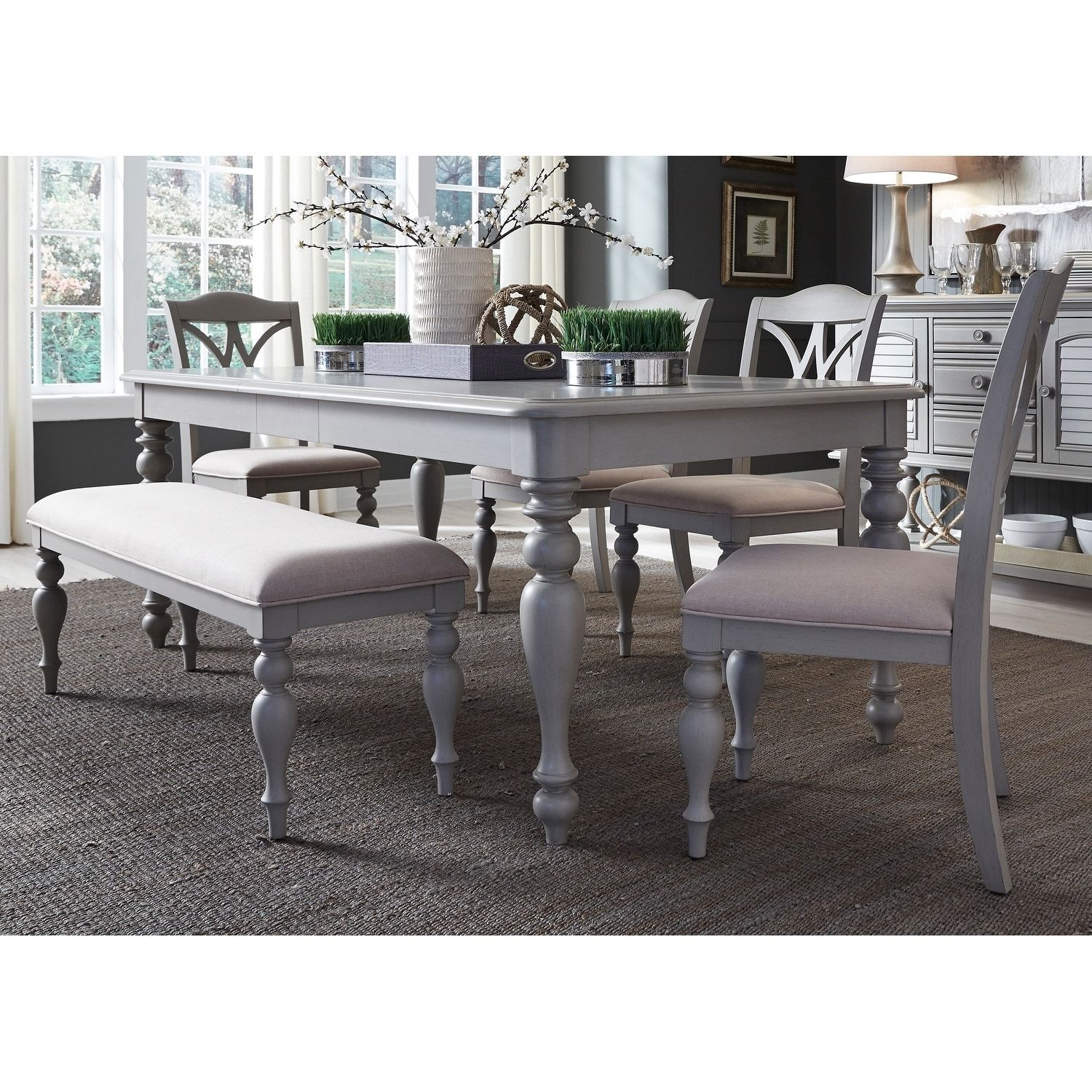 Enjoyable Summer House Dove Grey 6 Piece Rectangular Table Set With Caraccident5 Cool Chair Designs And Ideas Caraccident5Info