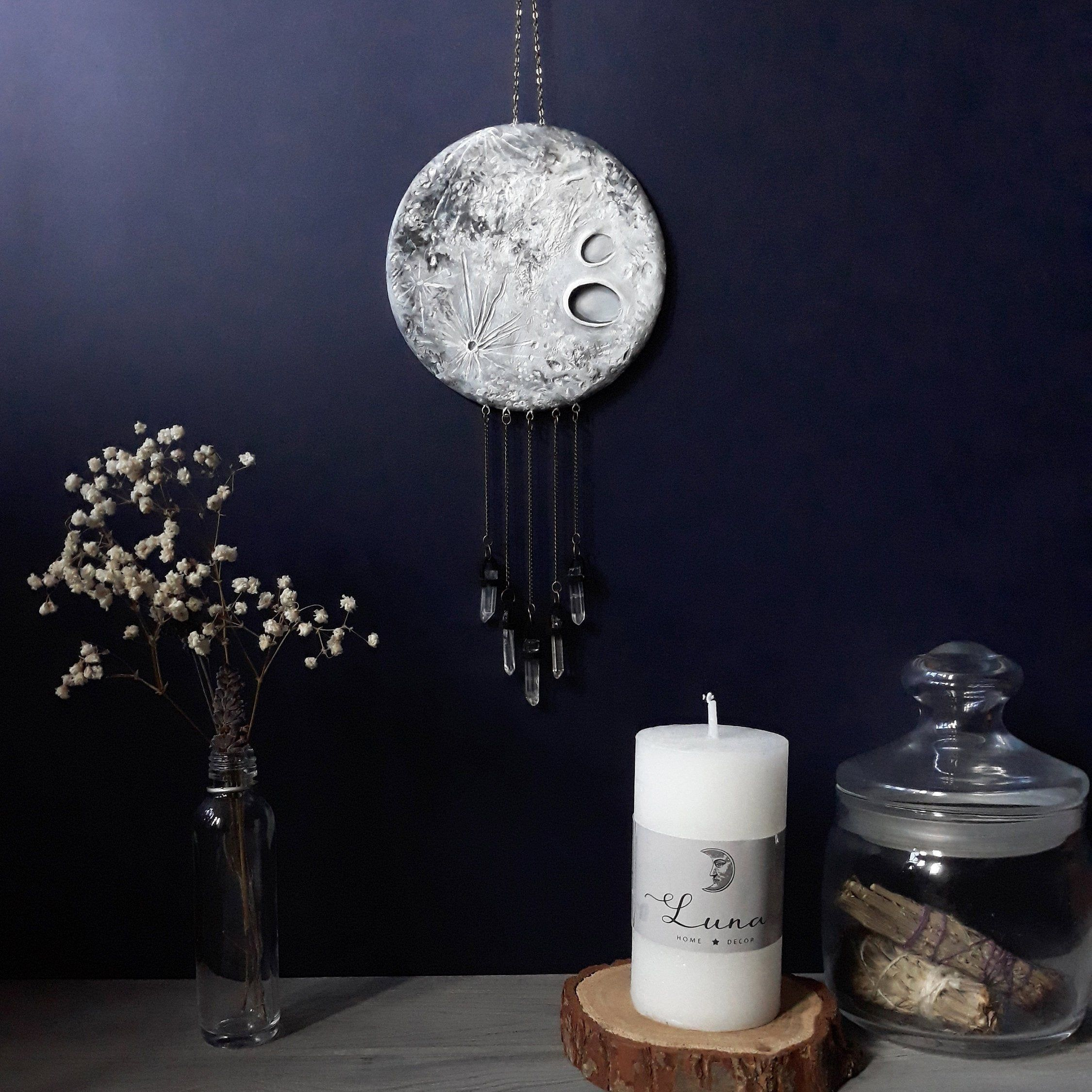 Crystal Moon Wall Hanging Witchy